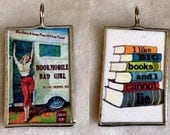 Bookmobile BAD GIRL Like Big Books Art Glass Pendant