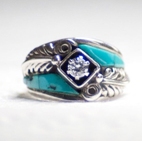 Vintage Navajo Indian Sterling Silver Turquoise Faux Diamond