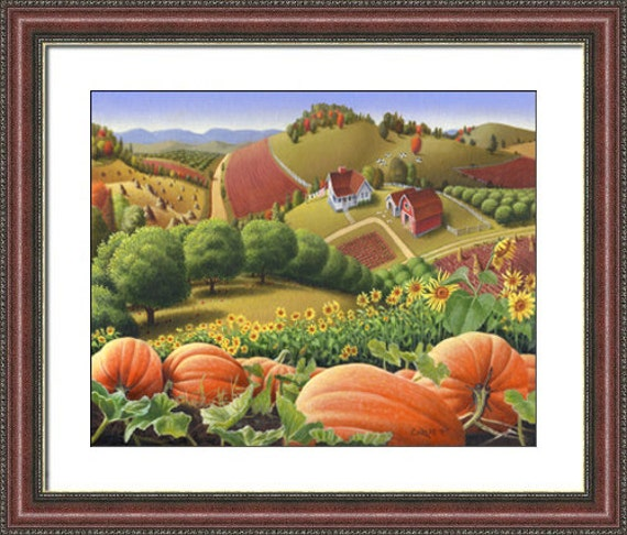 Country Farm Scenes, Fall Decor, autumn decor, Pumpkin patch, pumpkins farm Art landscape, framed matted print, rustic country decor