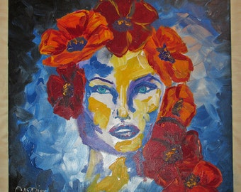 Flowers in Her Hair - Beautiful Female Woman Red Poppies Original Acrylic Painting on Canvas
