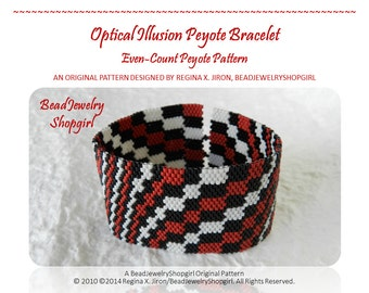 PATTERN TUTORIAL – Optical Illusion Peyote Bracelet, Even-Count Peyote Pattern - Digital Download