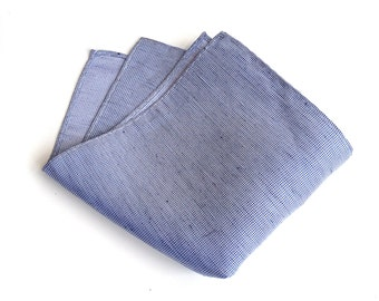 "Light blue linen pocket square. Rustic woven silk and linen blend men's handkerchief. ""St. Clair"" design."