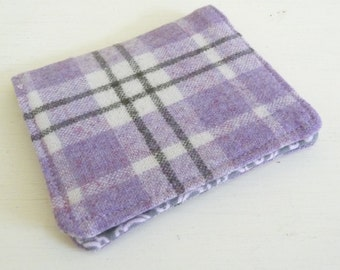Light Purple Plaid Wool Card Case