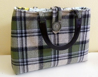 Olive Green Plaid Wool Handbag with vintage button closure