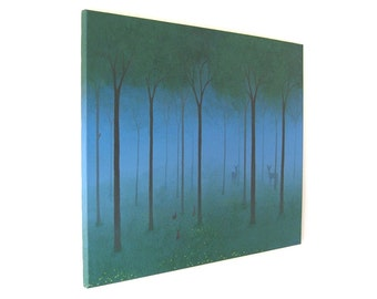 Summer Woodland acrylic landscape painting - misty forest scene with deer hiding in the trees, original canvas art (UK only)