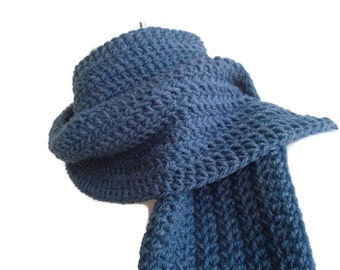Denim Blue Scarf Wool or Vegan Acrylic Colonial Dusky Blue Men Unisex Classic DRAKE Ready to Ship - Autumn, Winter Fashion