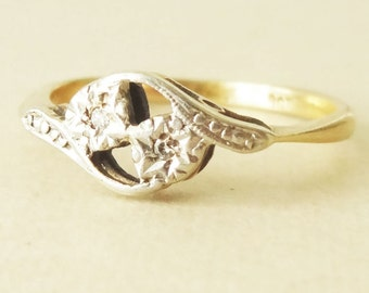 Edwardian Antique Twin Diamond 9k Gold Engagement Ring, Approx. Size US 5.75