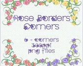 Roses Digital Borders, Roses Clipart, Roses Corners Clipart, Floral Clipart, Flowers Clip Art Kit, Floral Art, Digital Scrapbooking Elements