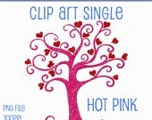 Glitter Heart Tree Clip Art, Clip Art Singles, Hot Pink Glitter Tree, Glitter Graphics, Glitter Clipart, Digital Scrapbooking, Trees