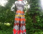 Vintage 1970s Rare Psychedelic Jumpsuit Maxi Dress