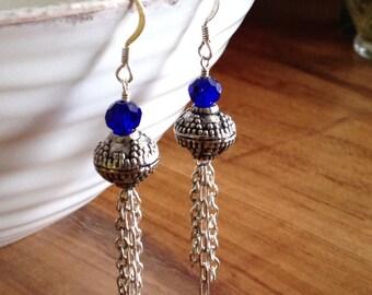 Silver and Crystal Tassel Earrings