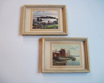 Vintage Nautical Prints framed set of 2