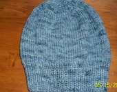 Hand knit Merino wool hat beanie cap Mocha's Fiber Connection hand dyed yarn knitted blue green unisex  watchcap