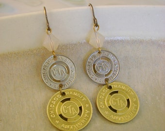 The Loop - Vintage Chicago Transit Authority CTA Tokens Swarovski Sand Opals Recycled Repurposed Jewelry Earrings