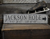 Custom Jackson Hole Lat & Long Sign - Rustic Hand Made Vintage Wooden ENS1000469