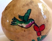 "Hand-Painted Gourd Christmas Ornament by artist Sandy Short ""Hummingbird with red flowers. """