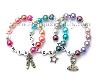 Dance Recital Gift Pink, Blue, Purple, or Green Pearl bracelet Personalized Little Girl name bracelet CHOOSE CHARM Ballet Pointe Shoes Tutu