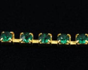 1 Foot Swarovski Rhinestone Cup Chain 19ss Emerald/Gold