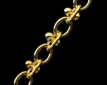 Bright Gold, 3.5mm x 2.4mm Dotted Oval Chain CC156