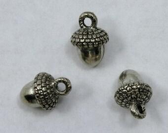 15mm Antique Silver Cast Metal Acorn Charm #CMA755