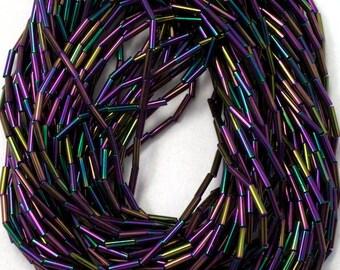 4mm Metallic Purple Iris Maco Tube Bead (Hank) #CZD008