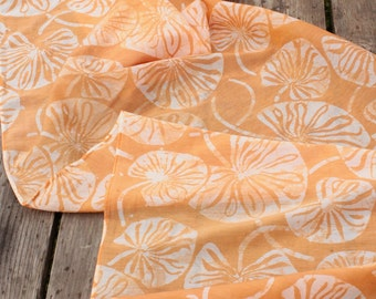 ecru lilypads silk/cotton batik scarf