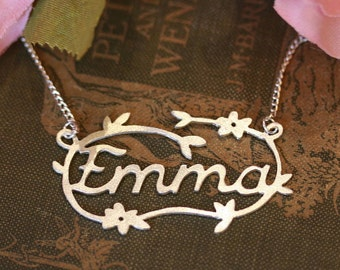Handmade Silver Decorative Name Necklace - Flowers