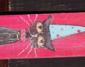 Black Cat in a Party Hat original Small painting BlackKitty Folk Art Small accessory fun colors