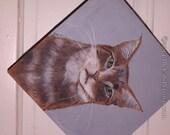Tabby Cat Original painting folk art tiger cat with gray background original OOaK
