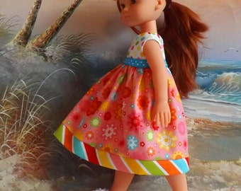 "14 and 14.5"" Doll  Clothing Dress Riley Blake Hello Sunshine Pink Floral Medley"