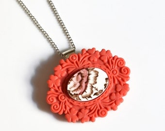 French Brocade Recycled China Necklace - Pink Flower