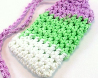 Cotton Crochet Soap Saver, Purple Green and White Soap Saver, Crochet Cotton Soap Sack, Soap Saver Bag