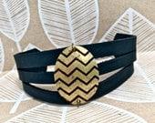 Leather Pendant Bracelet Cuff Layered, Choose Print & Color, Fern, Tree, Chevron, Leaves, Owl, Bird, Feather