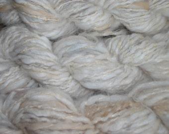 Hand Spun natural Oat Angora Yarn Worsted crochet knitting supplies baby prop yarn