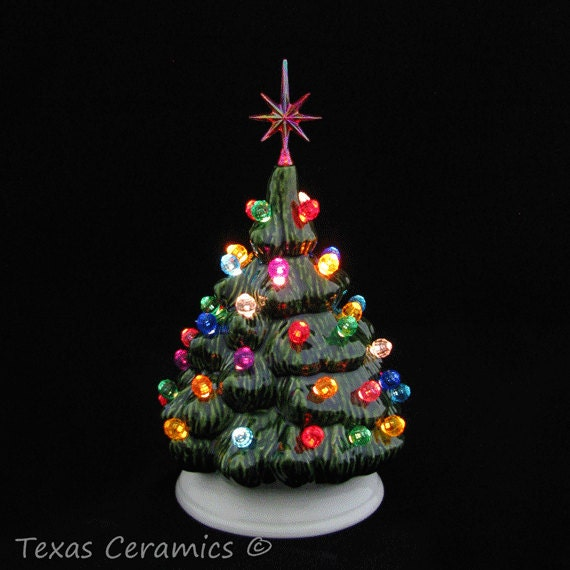 mini ceramic christmas tree traditional green tree with white base multi color lights snowflake star 6 inch tall tabletop electric lights - Ceramic Christmas Lights