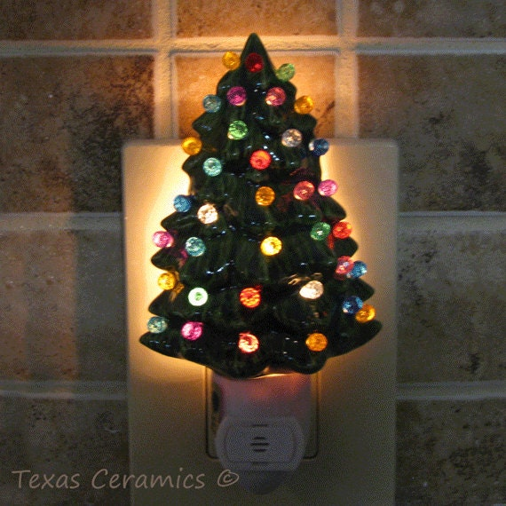 Wall Heath Christmas Lights Switch On : Little Ceramic Christmas Tree Night Light with by TexasCeramics