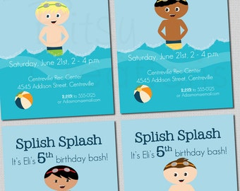Boy Pool Party Invitation Printable Digital Invitation with Four Different Options Swim Party Birthday Party Invitation