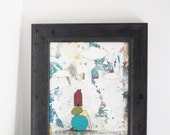 Clearance! Abstract Art Painting , Original Mixed Media Collage , Folk Art Painting, Framed and Ready to Hang, Free Domestic Shipping