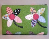 RESERVED FOR VICKI - Patchwork Twin Size Quilt  -  Applique Flowers - Vintage Look - Feedsack Prints - Handmade