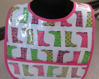 WATERPROOF WIPEABLE Baby to Toddler Wipeable Plastic Coated Bib Pink ang Green Rain Boots