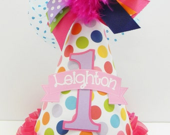 Personalized Boutique Pink and Multi- Colored First Birthday Party Hat