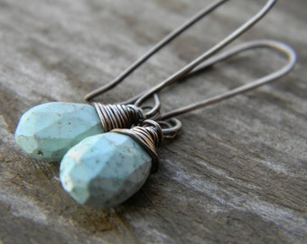 pale blue turquoise earrings - oxidized sterling silver