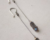 Stacked Labradorite Drop Earrings- labradorite, brass, sterling silver, goldfill.