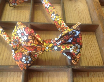 Brown floral bow tie