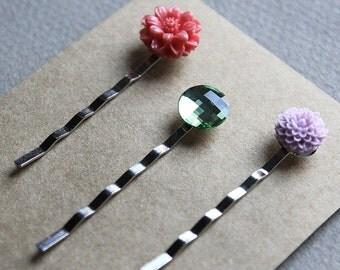 Silver Bobby Pins - Flowers - Swarovski - Pink, Green, Purple