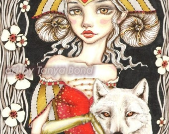 Werewolf Queen -  surreal pop fantasy art portrait princess crown white wolf medieval dress 5x7 print of original painting by Tanya Bond