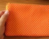 citrus orange----felt med zippy pouch-- handproduced--(ship in 1 day)