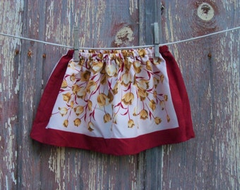 Half Price Sale Vintage Scarf Skirt in Maroon and Yellow Floral Print ONE SIZE fits 12 months to 3T recycled OOAK