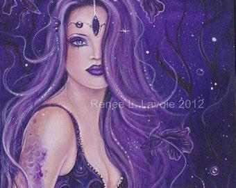 Shreya purple  mermaid  print  by Renee L. Lavoie