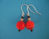 A Rose Ever Blooming - red beaded earrings asian coral cinnebar red and black dangle carved